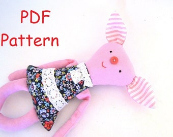 Soft toy pattern Pig sewing pattern  Stuffed toy sewing toy pig Pdf pattern