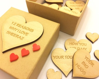 Personalised Mothers Day '12 Reasons Why I Love' Gift Box, Valenltine's Day, Birthday, Wedding Favours