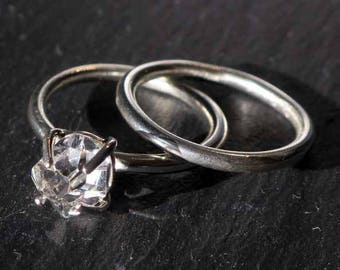 Sterling Silver Herkimer Diamond Engagement Ring —Water-Clear Gem