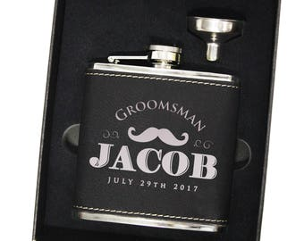 Personalized Flask Groomsmen Gift Box - Groomsmen Flask Set - Gifts for Groomsmen - Monogram Flask Gift Set - Custom Flask - Groomsman Flask
