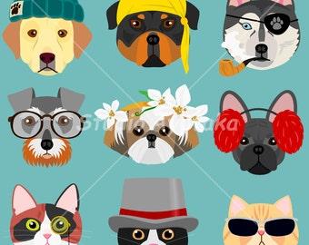おしゃれな犬と猫たち cats and dogs hipster