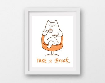 cat taking a break,take a break wall decor,cat digital art