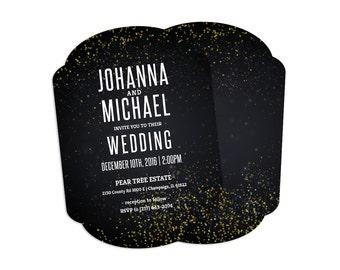 Black & Gold - Boutique Wedding Invitation Card (25 pack)