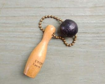 Vintage Keychain/ Lyon Lanes/ 1960s Promo/ Wood Bowling Pin and Ball
