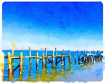 Great Old Florida Dock. Watercolor Paintingt of an old Florida dock. Beautiful blues and greens.