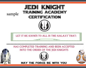Jedi certificates etsy for Star wars jedi certificate template free