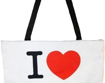 I Love New York Large White Tote Bag