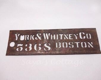 SOLD) Antique 1881  Brass Stencil /Handmade Industrial Stencil Signs /Business Address Stencil Signs /Boston Rustic Wall Decor