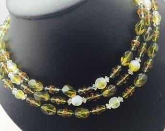 1960's Triple Strand Vendome  Necklace