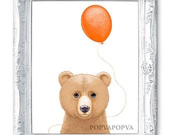 BEAR ART Print, Bear Nursery PRINT, Bear Print, Balloon Print, Bear Decor, Bear Wall Art, Bear Wall Decor, Baby Bear Poster Nursery Artwork