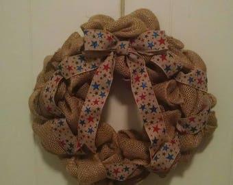 Patriotic burlap handmade wreath