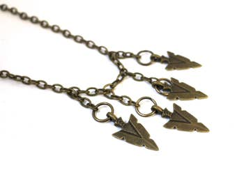 Arrowhead necklace || Antiqued brass