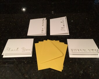 Set of 4 Cut-out Thank you note cards with envelopes