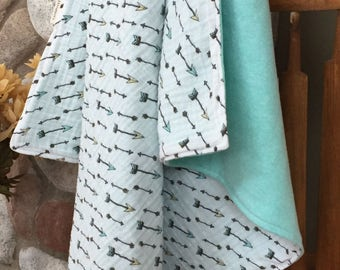 Baby Blanket; Gender Neutral Baby Blanket; Double Gauze and French Terry Baby Blanket
