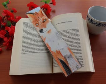 Bookmark handmade, Red Fox portrait on the front and rear Fox silhouette drawn with colored pencils and watercolor pencils