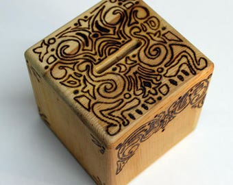 Woodburned Bank Cube