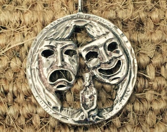 Sterling Silver Comedy Tragedy Pendant