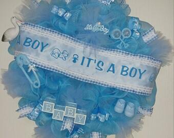 IT'S A BOY WREATH Baby Shower Wreath Blue