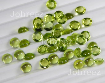 15 Pieces Natural Peridot Round Shape Gemstone Cabochon High Quality Smooth Polished Gemstone