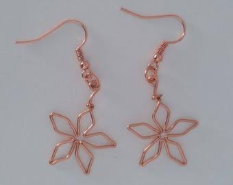 Custom Hand Made Earrings Copper Wire Flower