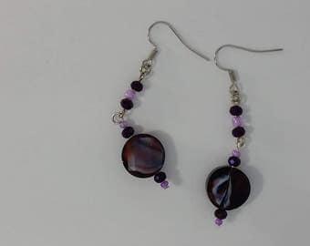 Custom hand made earrings deep purple violet glass swirl bead