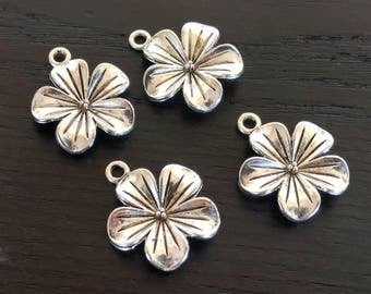 4 Flower Charms | Silver Flower Charms | Flower Jewelry | Garden Charms | Flower Pendant | Plumeria | Ready to Ship from USA | AS064-4