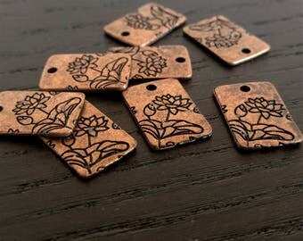 4 Lotus Charms | Antique Copper Lotus Charms | Lotus Print | Square Lotus Charms | Yoga Charm | Floating Lotus | Ready to Ship USA | AC082-4