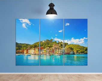 3 Pieces Portofino, Genova, Liguria, Italy Leather Print/Wall Art/Wall Decor/Multi Panel Print/Extra Large print/Better than Canvas!