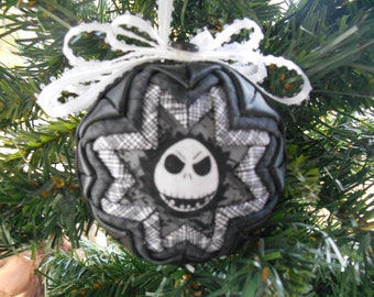 Jack Skellington Ornament Black and White Nightmare Before Christmas Ornament Handmade Quilted Ornament Quilted Christmas Ornament