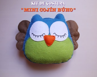 Kit of Couture-Mini cushion OWL-Diy Craft Kit (MATERIALS + video TUTORIAL)