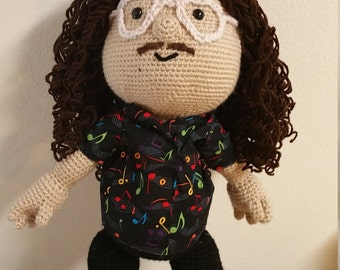 Weird Al made to order crochet doll (mini size available also on site)