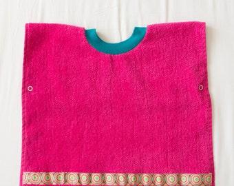 Personalized, Circle Flower Baby or Toddler Towel Bib, Handmade Girl Baby Shower Gift, Pullover Full Coverage Bib, Toddler Art Smock