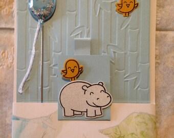 Humorous handmade hippo birdie birthday pull card