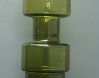 Large Riihimaki green glass vase
