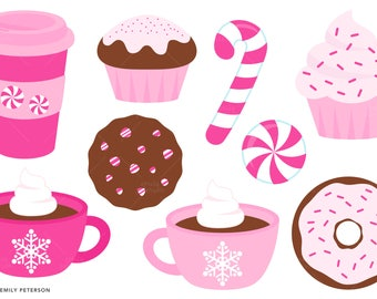 Peppermint, Mocha, Coffee, Candy Cane - Cute Clipart, Clip Art - Commercial Use, Instant Download | V2