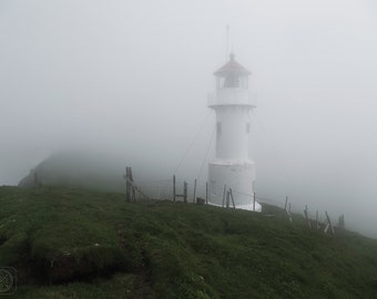 Faroese Lighthouse in the Fog
