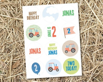 Stickers - Personalised Tractor Theme Birthday Mini Sticker Sheet Party Bags Pass the Parcel