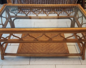 Antique Chinese Bamboo Coffee Table & End Tables