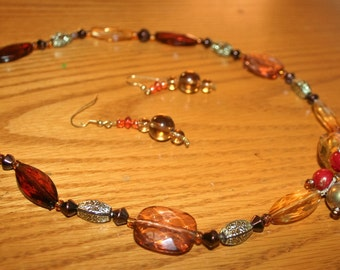 Amber Beaded Flower Necklace and Matching Earrings