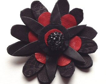 RED FLOWER BROACH, red black flower, leather brooch, floral brooch, one off,  broach, pin, gift for her, wedding accessory, wedding flower