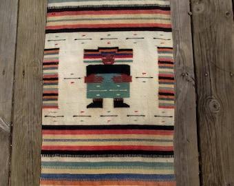 Hand Made Vintage Aztec Wool Runner/Wallhanging/Textile/Ethnic/Boho Bohemian