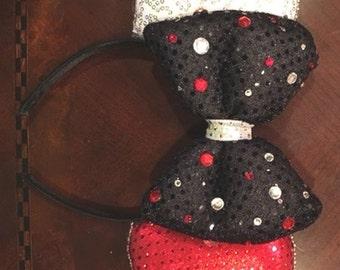 Bling Mickey Minney Black, White & Red Ears Headband