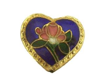 Cloisonne Heart Beads x 12