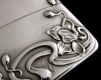 Antique stunning sterling silver card case art Nouveau c1900