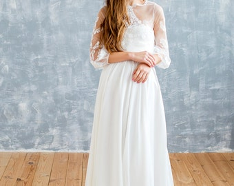 2 piece wedding dress, ivory wedding dress, tulle wedding dress, bohemian wedding dress, garden wedding dress, aline wedding dress, lace