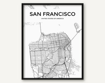 San Francisco Map Print, San Francisco Print, San Francisco Wall Art, Black and White San Francisco Poster, Street Map, City Map Print