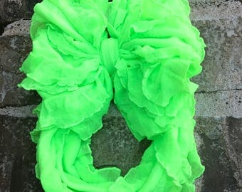 Neon Green Ruffle Messy Bow Headband