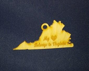 Virginia My Heart Belongs To state ornament