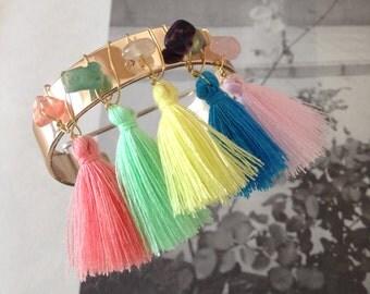 Rose Gold Bangle - crystal and tassel wired, tassel bangle, crystal bangle, rainbow bangle, boho bangle, fringe bangle