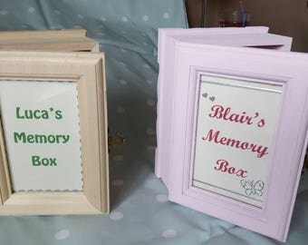 Gorgeous personalised memory box with framed lid. Colour options available, finished with plain background and printed name.